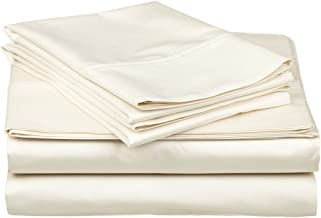 Superior 100% Premium Combed Cotton, 300 Thread Count 5-Piece Bed Sheet Set, Single Ply Cotton, Deep Pocket Fitted Sheets, Soft and Luxurious Bedding Sets - Split King, Ivory