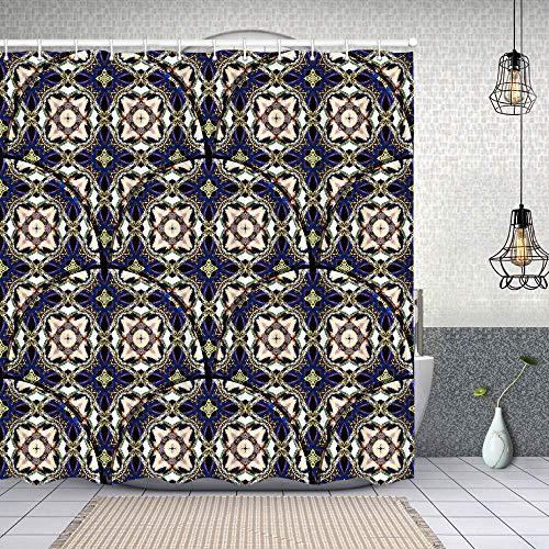 Cortina de Baño con 12 Ganchos,Colorido diseño de Azulejos con Textura, Cortina Ducha Tela Resistente al Agua para baño,bañera 180X180cm