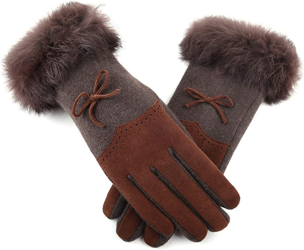 Zcx Autumn and Winter Thick Blended Stitching Bow Riding Knit Warm Five-Finger Gloves (Color : Brown, Size : One Size)