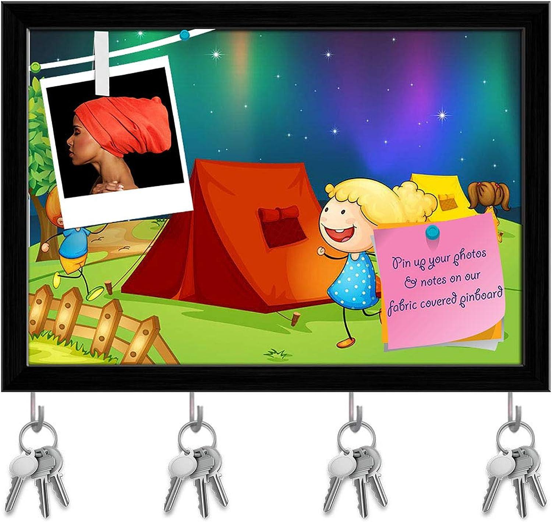 Artzfolio Kids Near Fire Key Holder Hooks   Notice Pin Board   Black Frame 17.2 X 12Inch