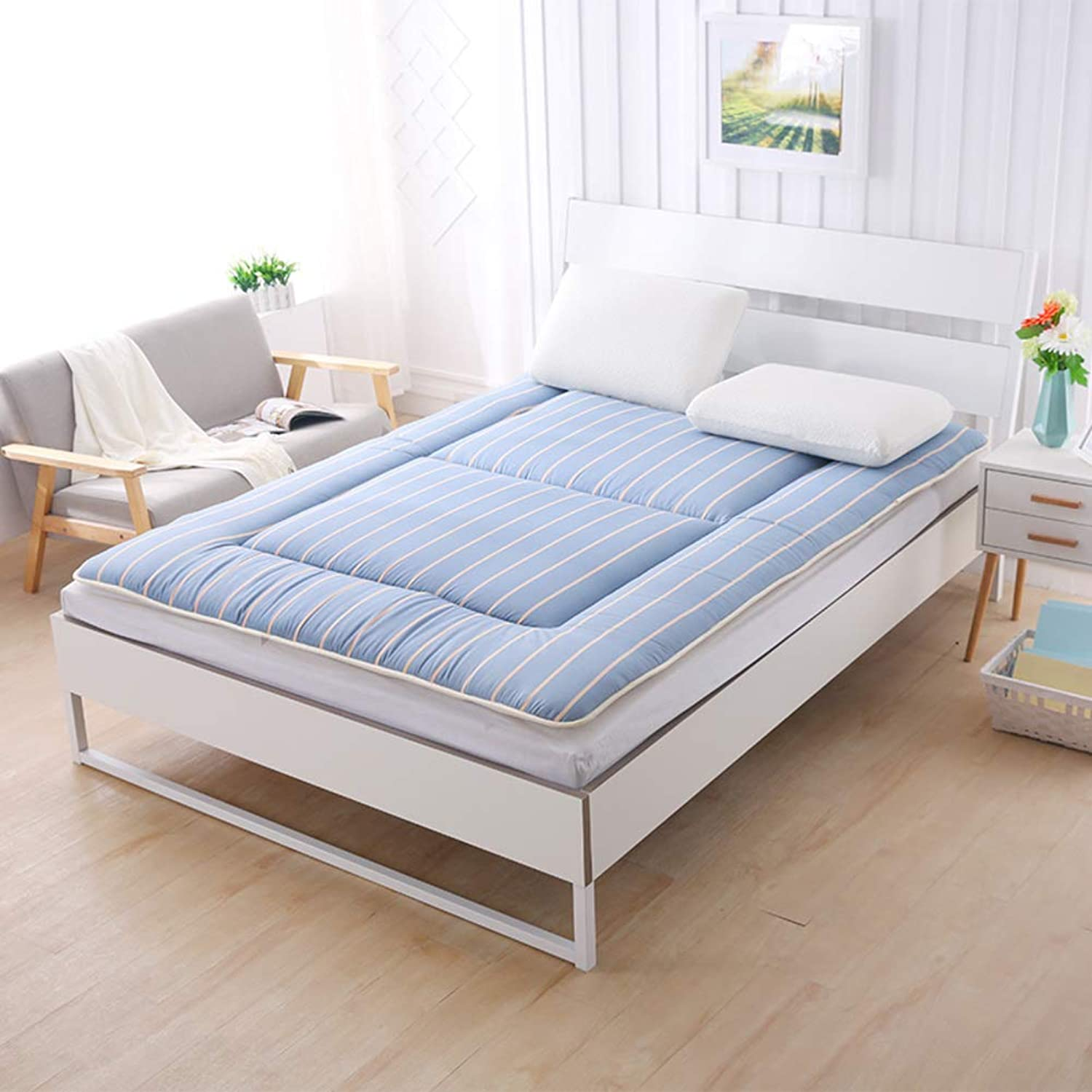 Breathable Japanese Traditional futon Mattress,Ultra Soft Portable Non-Slip Floor mat Sleeping pad Student Dormitory-bluee Queen 150x200cm