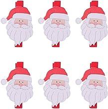 AIKENR 6 Pcs Christmas Mini Wooden Clothespins Wooden Santa Claus Decoration Memo Photo Clips Picture Pegs Craft Clips Chr...