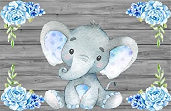 AOFOTO 10x6.5ft Cute Baby Elephant Backdrop Baby Shower Party Decoration Photography Background Sweet Watercolor Flower Cartoon Animal Photo Studio Props Newborn Infant Girl Kid Boy Birthday Banner