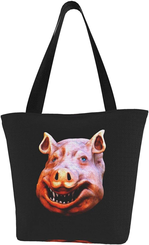 Funny Theme Ugly Pig Themed Printed Women Canvas Handbag Zipper Shoulder Bag Work Booksbag Tote Purse Leisure Hobo Bag For Shopping