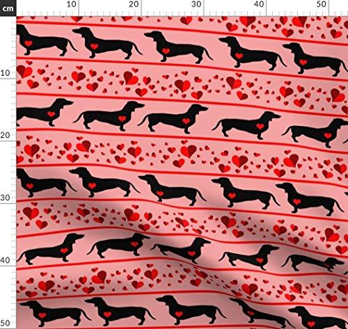 Dackel, Hotdog, Herzen, Valentinskarte, Bordüre Stoffe - Individuell Bedruckt von Spoonflower - Design von Dogdazedesigns Gedruckt auf Jeansstoff