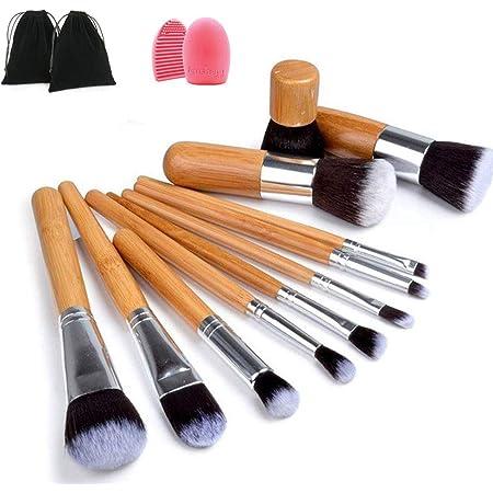 Brochas de Maquillaje, Naropox Set de Brochas Maquillaj Bambu, Profesional Libre de Crueldad Pinceles de Maquillaje con Limpiador, Premium Suaves y Firmes,11 Piezas