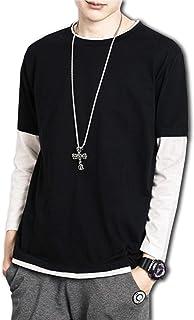 [ボルソ] 重ね着風 切り替え カットソー メンズ(ブラック、ホワイト、グレー) S〜XXXL