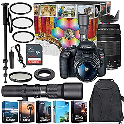Canon EOS Rebel T7 DSLR Camera with 18-55mm & 75-300mm Lenses Kit + 500mm Preset Wildlife Lens - Deluxe Professional Photo & Video Creative Bundle