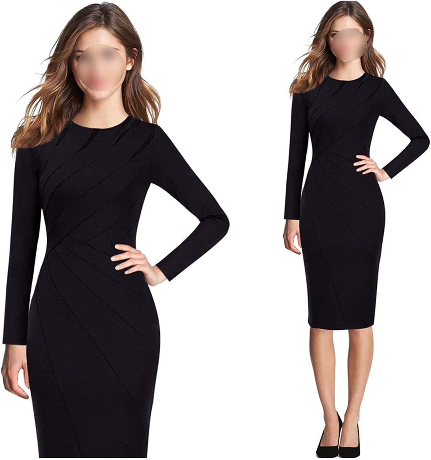 colorfulspace Womens Autumn Winter Elegant Patchwork Slim Casual Party Fitted Bodycon Pencil Sheath Dress 1045
