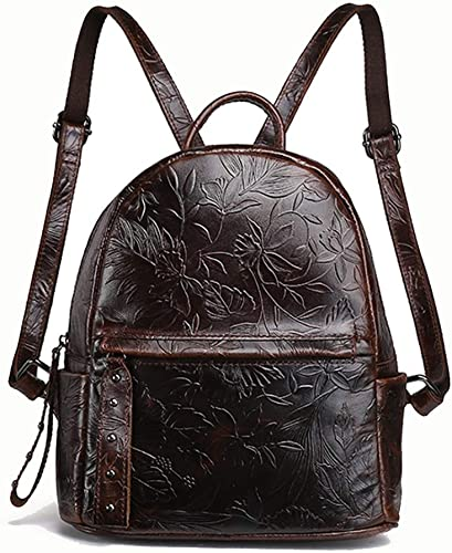 HUIMEIS Nouveau sac à dos de mode pour femme en cuir ciré rétro à l'épaule décontractée pour femme