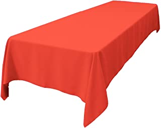 LA Linen Polyester Poplin Rectangular Tablecloth 60 by 108-Inch, Coral, 60 x 108