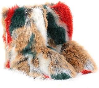 HANHOU Urban Leisure Damesschoenen, kunstbont, sneeuwschoenen, pluche voering, kleurenserie, winter, high-top, middenbuis,...