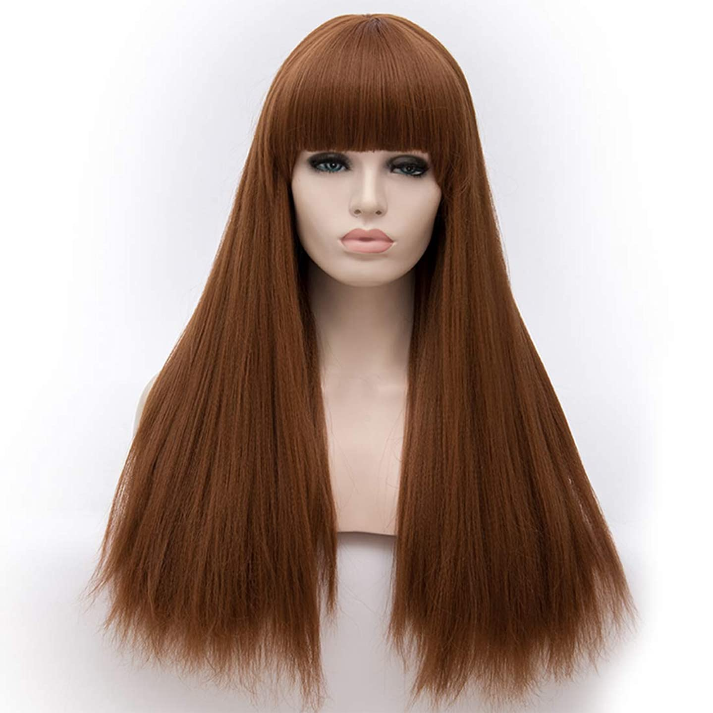 Alacos Fashion 65CM Long Straight Lolita Harajuku Brow-Skimming Bangs Daily Party Costumes Wigs for Women +Free Wig Cap (Brown)
