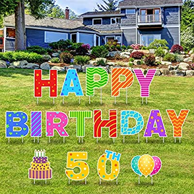 Greatingreat 17 Packs Happy 50th Birthday Yard Sign with Stakes - Perfect Outdoor Lawn Decorations with Bright & Fantasy Colorful Letters Made of Thick Weatherproof Corrugated Board and 34 Stakes