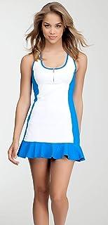 فستان تنس أزرق وأبيض للفتيات فستان تنس متوهج فستان تنس صغير فستان بنات جولف ملابس رياضية GLrls