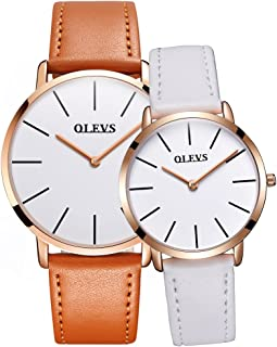 Valentines Couple Pair Quartz Watches Luminous Calendar Waterproof, Casual His and Hers Wristwatch for Men Women Lovers Wedding Romantic Gifts Set of 2