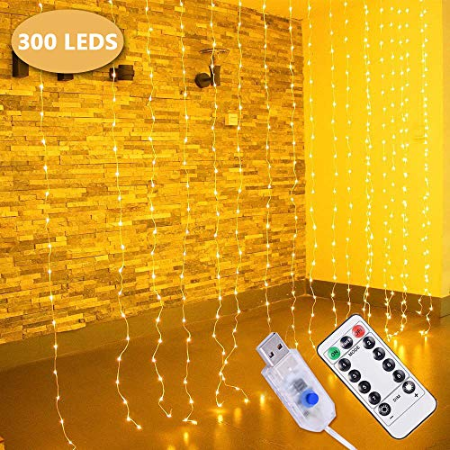 LED Cortina de Luces, 3m x 3m 300 LEDs Blanco Cálido Luces de cortina