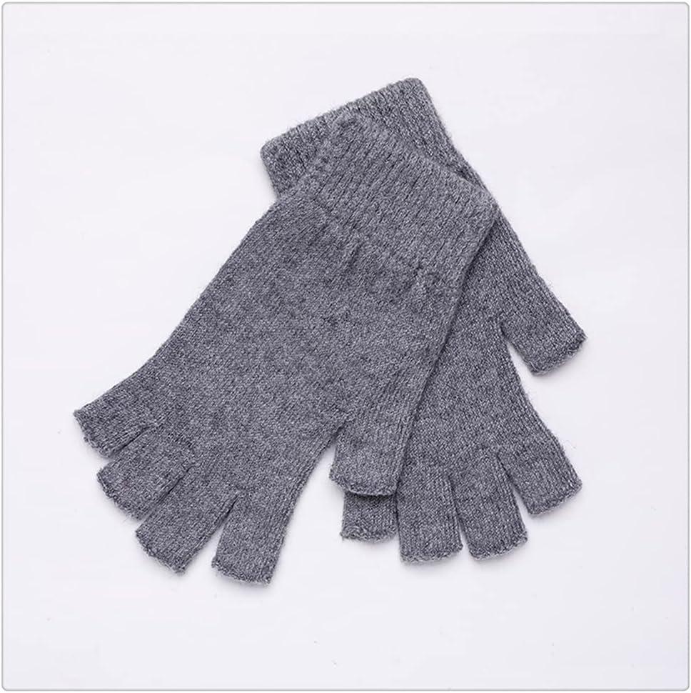 WBDL Women Men Half Finger Cashmere Glove Short Wrist Mitten Winter Warm Stretch Fingerless Gloves