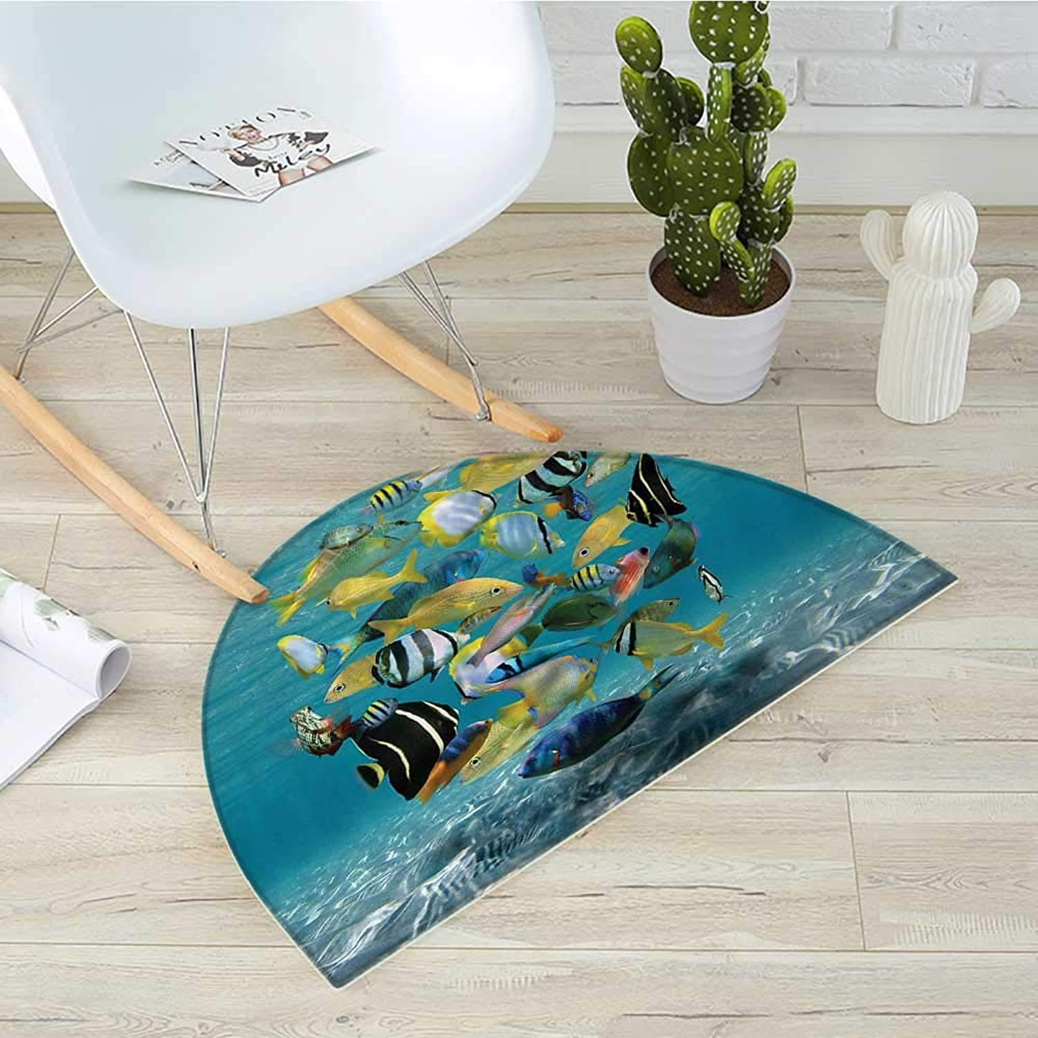 Fish Semicircular CushionShoal of Fish Forming a Circle Above a Sandy Seabed in Clear Water Caribbean Ocean Entry Door Mat H 35.4  xD 53.1  Multicolor