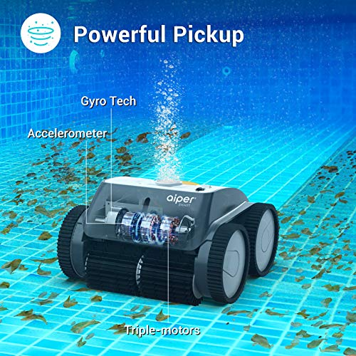 AIPER SMART Cordless Robotic Pool Cleaner, Wall-Climbing, Triple-Motor, Intelligent Route Plan Tech...