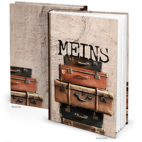 Logbuch-Verlag - Cuadernos DIN A4 con y sin esquinas de metal, color Diseño de maleta beige y marrón. ohne Metallecken