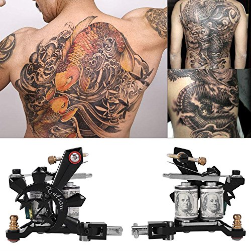 Maquina de Tatuaje,Profesional Kit de Tatuaje Maquina para Tatuar Rotativa Pistola Bobina Maquina Con Maletin Fuente de Alimentacion Grips Tubos Tintas Pedal