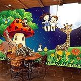 XHXI Murales de pared para niños en 3D Bosque verde Habitación de setas de dibujos animados Luna Jir Pared Pintado Papel tapiz 3D Decoración dormitorio Fotomural sala sofá pared mural-350cm×256cm