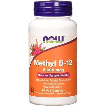 NOW Supplements, Methyl B-12 5000mcg,Methylcobalamin, Hypoallergenic, 90 Veg Capsules