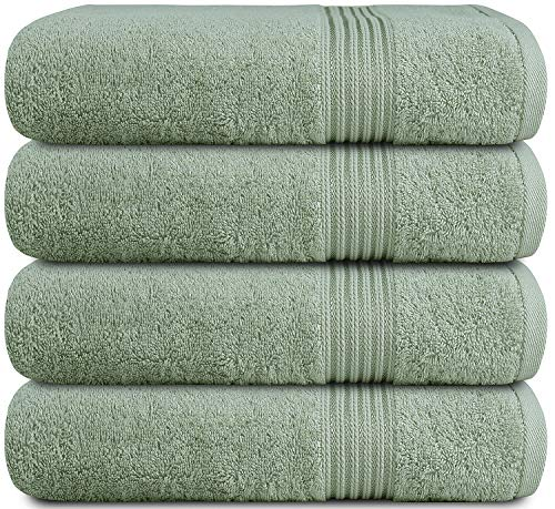 Zuperia Bath Towels 27quot x 54quot Set of 4 Ultra Soft 100% Combed Cotton Large Bath Towel Highly Absorbent Daily Usage Bath Towel Ideal for Pool Home Gym Spa Hotel  Sage Green
