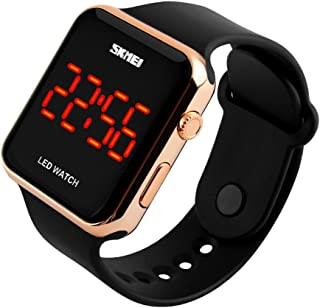 Kids or Adults Fruit Powder led Electronic Sports Watches, Large Screen pu Strap Waterproof Men and Women Students Couple Wristwatch-A