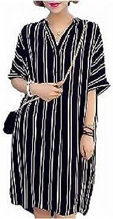 (ヴィラコチャ) Viracocya ドルマンスリーブ スキッパーシャツ ストライプ 白黒 Vネック 襟付きシャツ 半袖 二次会 お呼ばれ ミニ カジュアル ロング Tシャツ シャツ ブラウス チュニック 部屋着 ミニワンピ ひざ丈 体型カバー 黒色 ユッタリ ロング丈 バックテール 襟付 妊婦 マタニティドレス ワンピース レディース (XXL)