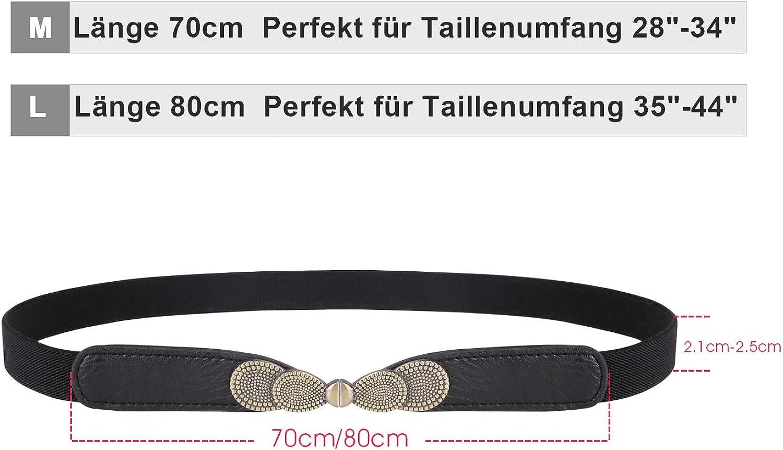 WERFORU 2 Packungen Dünner elastischer Stretchgürtel für Damen für Kleider Retro Damen Vintage Dünne Taille Gürtel A-schwarz+braun
