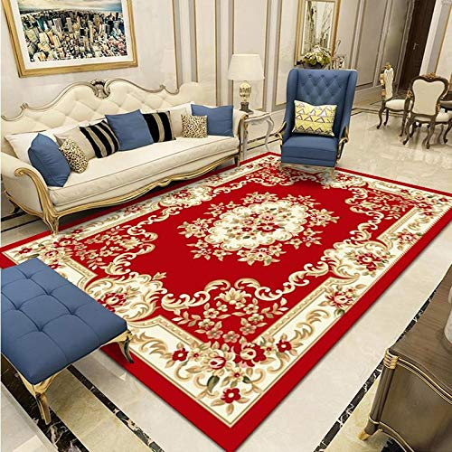 Oukeep Chinese Carved Large Carpet, Home Non-Slip Thickening Living Room, Large Area Covered Carpet, Sofa, Coffee Table Cushion, Washable
