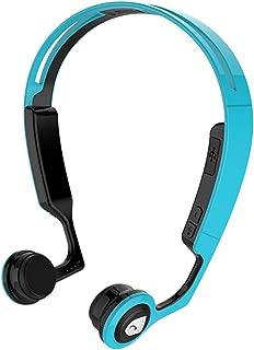 Bone Conduction Headphones Wireless Bluetooth Stereo Headset Over Ear Sweatproof Earphone with Microphone for Sports (Black+Blue)