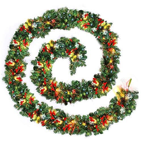 GPWDSN 9FT (2.7M) Décoration de Guirlande de Noël Verte avec des guirlandes à LED Blanches Chaudes et des Boules Lumineuses Pommes de pin Flocon de Neige Festive pour Les cheminées d'arb