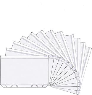20 Paquets A6 Taille 6 Trous Pochettes Classeur en Plastique Dossiers à Glissière des Dossiers Imperméable 6 Trous Sacs Zi...