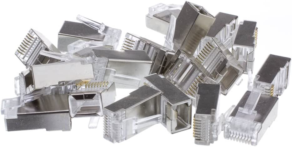 50 Pieces//Pack ACL Shielded Cat5e RJ45 Crimp Connectors//Plugs for Solid//Stranded Cable, 1 Pack 8P8C