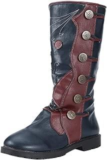KemeKiss Women Vintage Low Heels Mid Top Boots Pull On