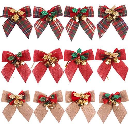 Feelava Weihnachtsschleifen, 12 Stück Sackleinen Band Schleifen für Weihnachtsbaum, Weihnachtsschleifen mit Glöckchen für Urlaub, Geburtstag, Hochzeit, Party, Dekoration für Weihnachtsbaum