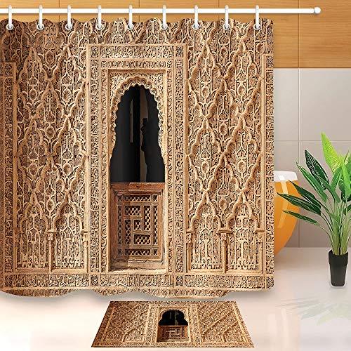 hdrjdrt - Juego de Alfombrillas de baño con diseño de Arco Halal árabe, Impermeables, Suaves y respetuosas con el Medio Ambiente, diseño de Gancho, Accesorios de baño