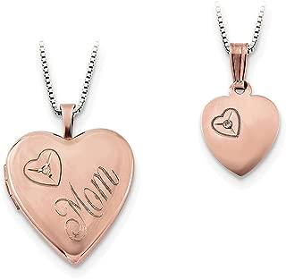 Lex & Lu Sterling Silver Rose G/P Diamond Polished Heart Locket Necklace Set