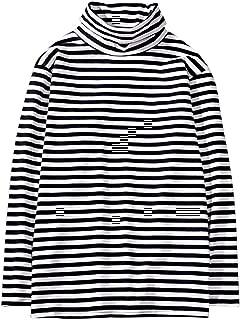 Men's Turtleneck Striped Hipster Hip Hop Pullover Long Sleeve T-Shirt Top