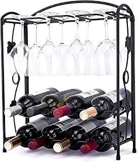 TAME Wine Rack Countertop with Glass Holder,Foldbale Wine Bottles Holder for 8 Bottles and Wine Glasses Perfect for Kitche...