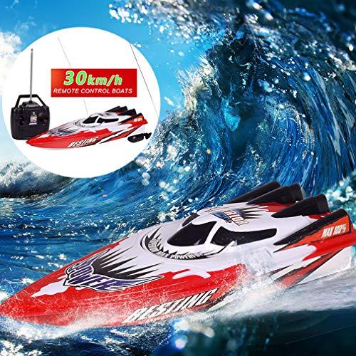 MEILINL RC Boat Elektroboot RC 30KM / H Fernbedienungs Boot Hochgeschwindigkeits Ferngesteuertes Rennboot Langes Akkulaufzeit RC Boote Für Kinder Und Erwachsene
