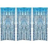 3 Piezas de Cortina de Oropel Metálica, Cortina Brillante de Borlas de Lamina Decoración de Ventana para Fiesta de Cumpleaños Boda (Azul Claro)