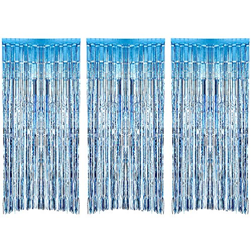3 Pack Metallic Tinsel Curtains, Foil Fringe Shimmer Curtain Door Window Decoration for Birthday Wedding Party (Light Blue)
