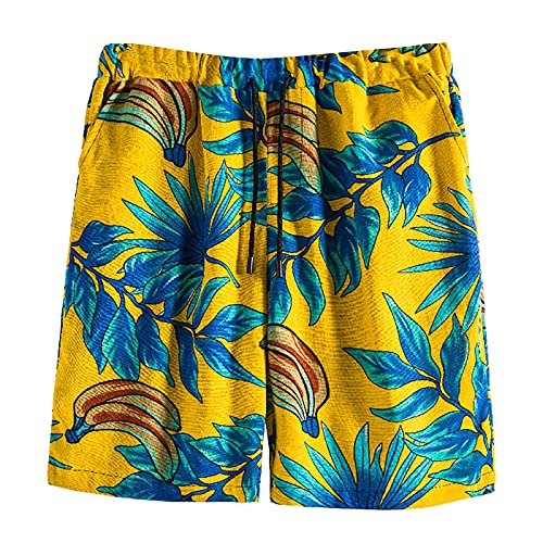 BingThL Bañador corto para hombre, de secado rápido, para verano, con cordón ajustable B-Yellow X-Large