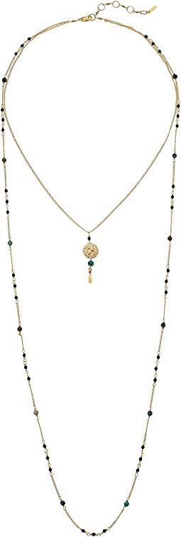 Double Layered Adjustable Necklace with Coin and Semi Precious Stones