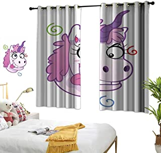 """RuppertTextile Funny Customized Curtains Crazy Unicorn with Happy Face Girls Kids Princess Life Nursery Bizarre Cartoon 63"""" Wx63 L, Suitable for Bedroom Living Room Study, etc."""