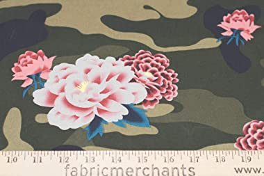 Fabric Merchants Cotton Twill Camouflage & Flowers Fabric by The Yard, Army Green/Mauve 5 Yards